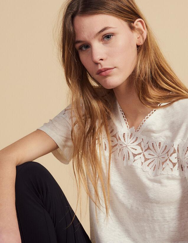T-Shirt En Lin Avec De La Dentelle : T-shirts couleur Ecru