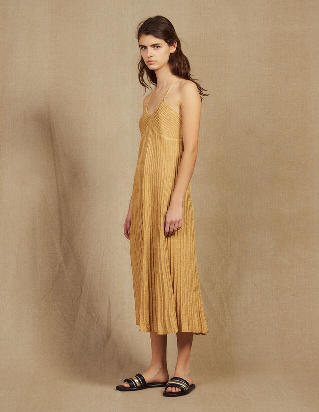 Robe Longue En Maille Lurex Plissée : Robes couleur Or