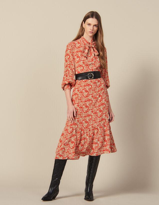 Robe Longue Imprimée En Soie : New in couleur Rouge