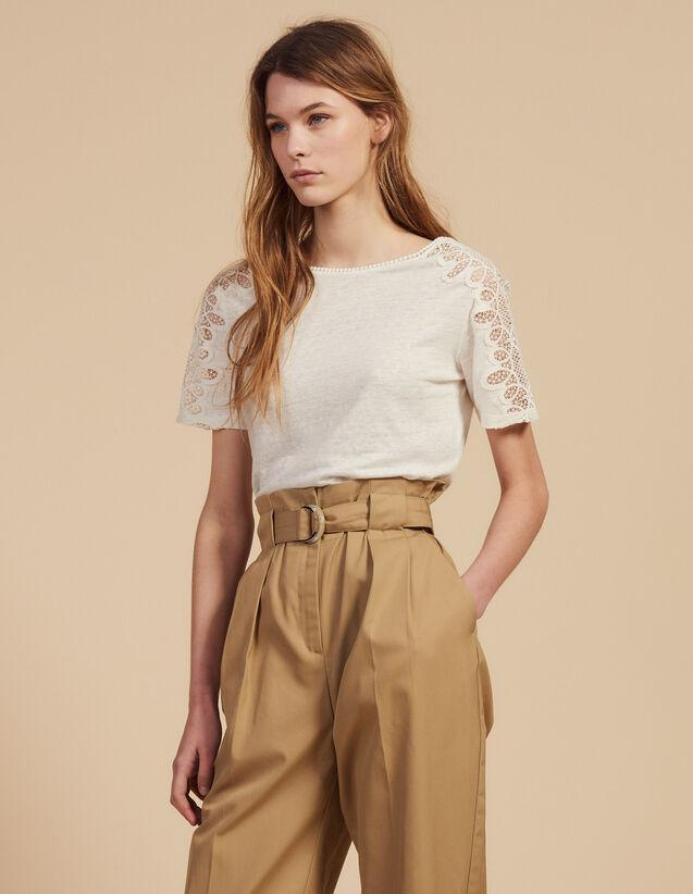 ca506bcce649 T-shirt en lin avec galons de dentelle   T-shirts couleur Ecru