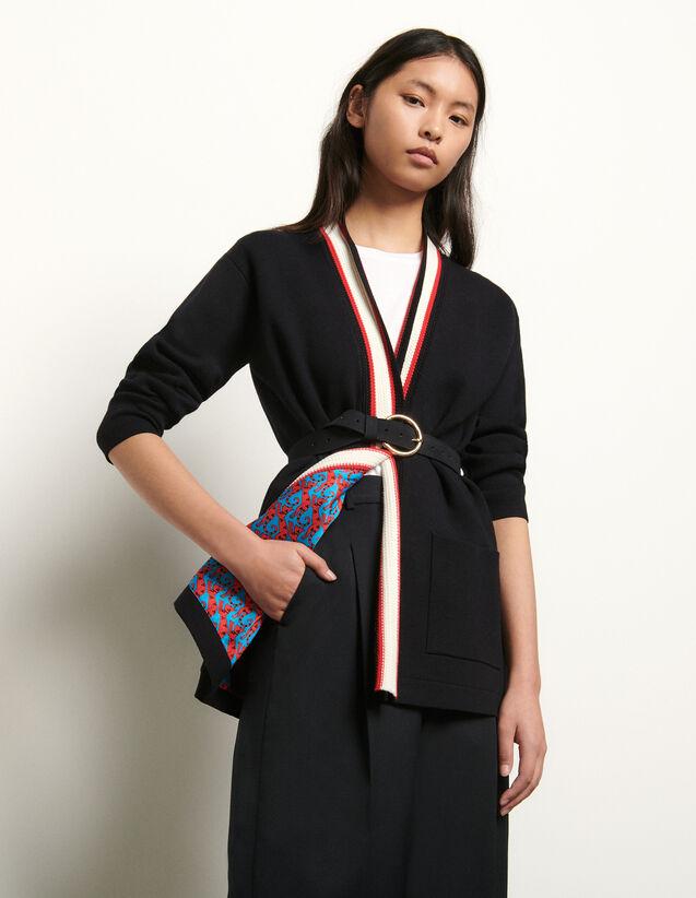Cardigan avec doublure imprimée : Pulls & Cardigans couleur Noir