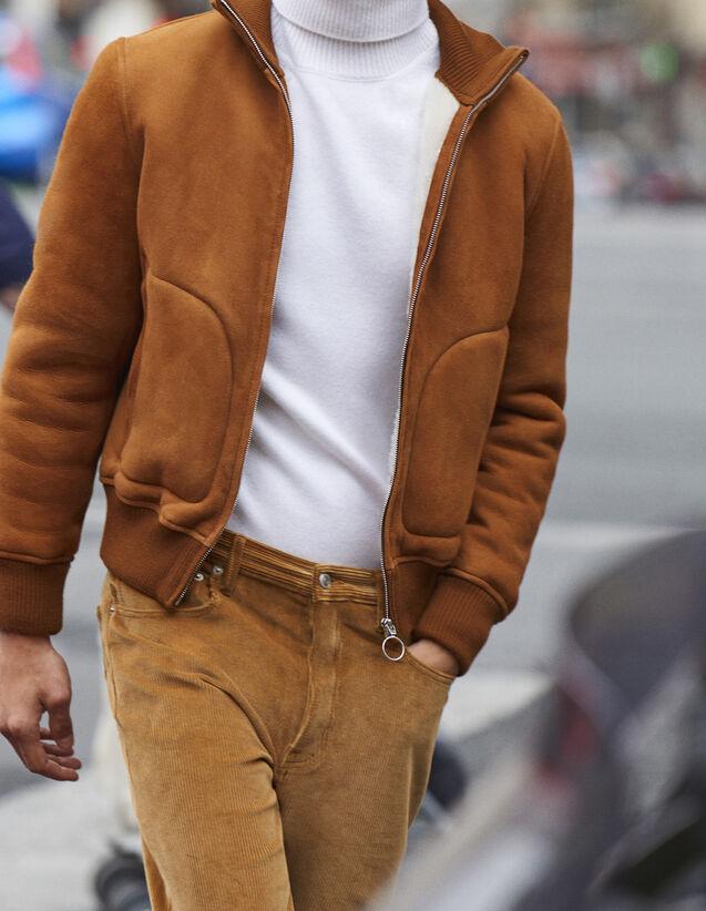 Veste esprit bombers en peau lainée   Blousons   Vestes couleur Cognac 282acac22be5