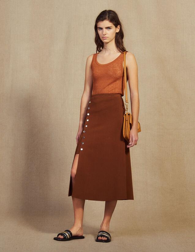 Jupe Fendue En Maille : Jupes & Shorts couleur Marron