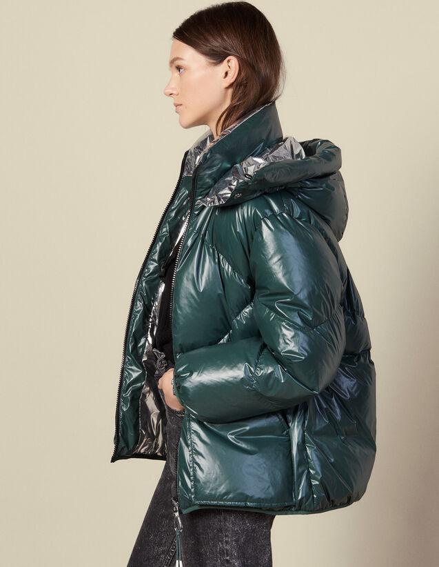 Doudoune Réversible : Manteaux couleur Vert Bouteille