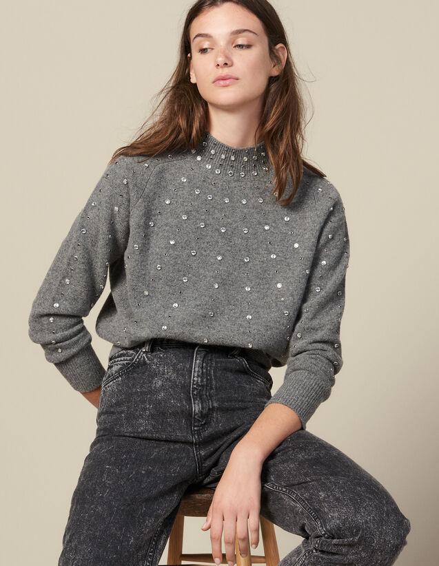 Pull En Maille Orné De Studs : Pulls & Cardigans couleur Gris