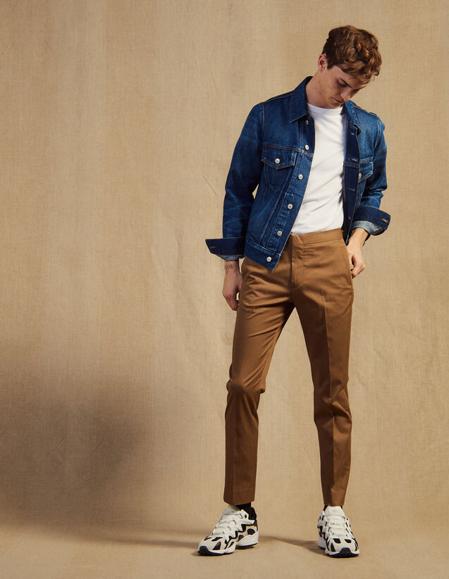 Pantalon Chino Ajusté : Pantalons & Shorts couleur Marine