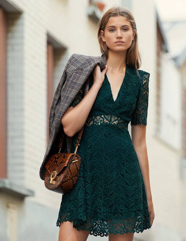 Robe Courte Décolleté En Guipure Cœur : Robes couleur Vert