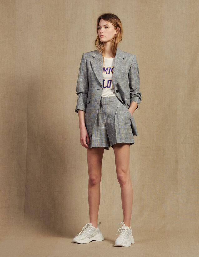 Veste De Blazer À Carreaux : Blousons & Vestes couleur Gris