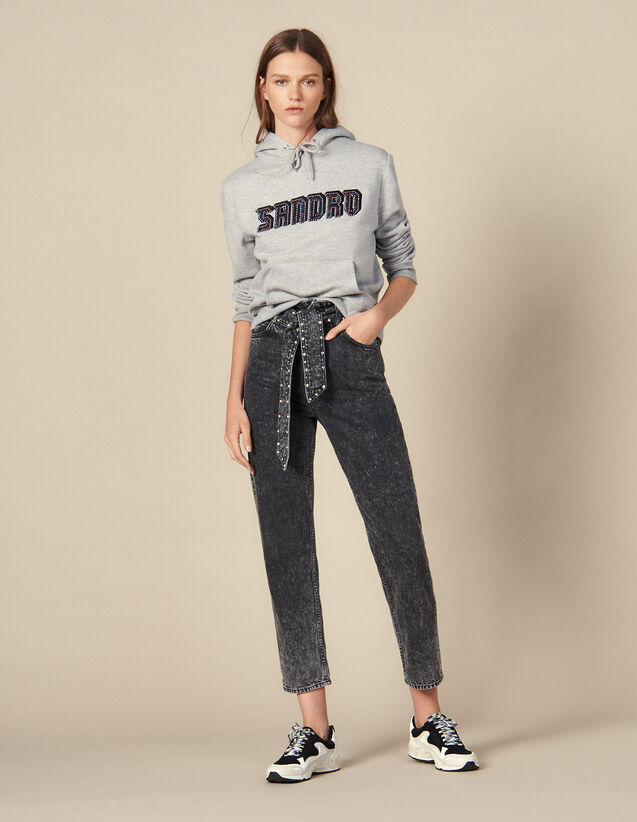 Jean neige avec ceinture ornée de studs : Jeans couleur Noir