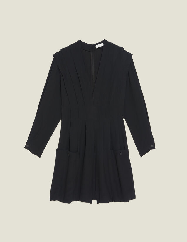 Robe Courte Fluide Ornée De Plis : Sélection Last Chance couleur Noir