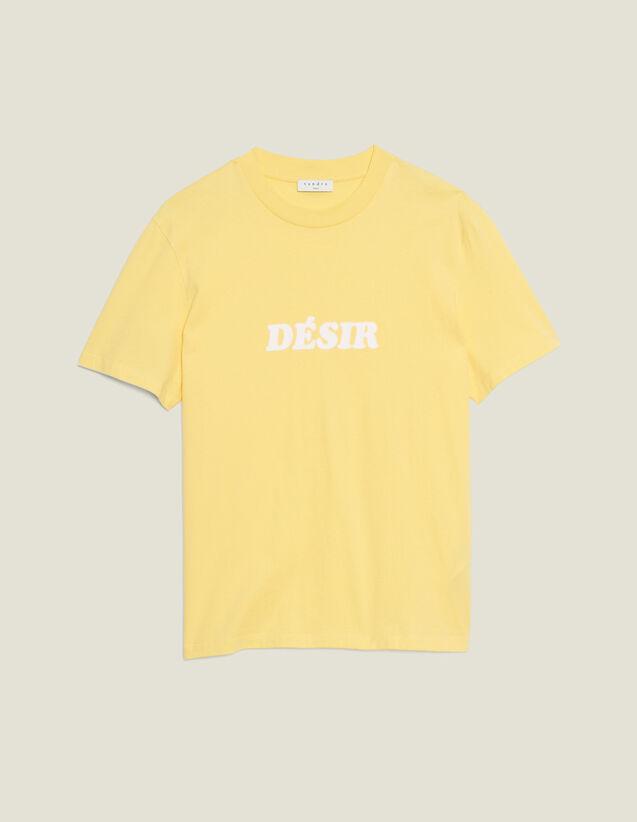 T-Shirt En Coton À Message : T-shirts & Polos couleur Jaune pâle