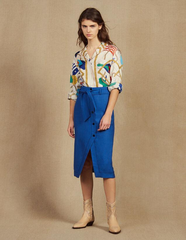 Jupe Longueur Genoux Ceinturée : Jupes & Shorts couleur Bleu