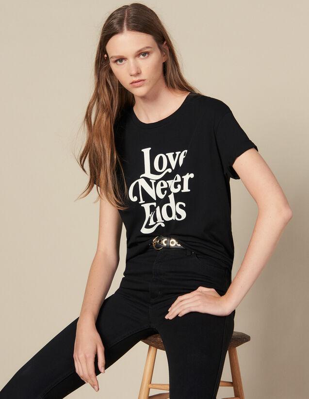 T-Shirt Avec Inscription Contrastante : T-shirts couleur Noir