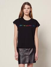 T-Shirt À Message Brodé En Coton : T-shirts couleur Noir