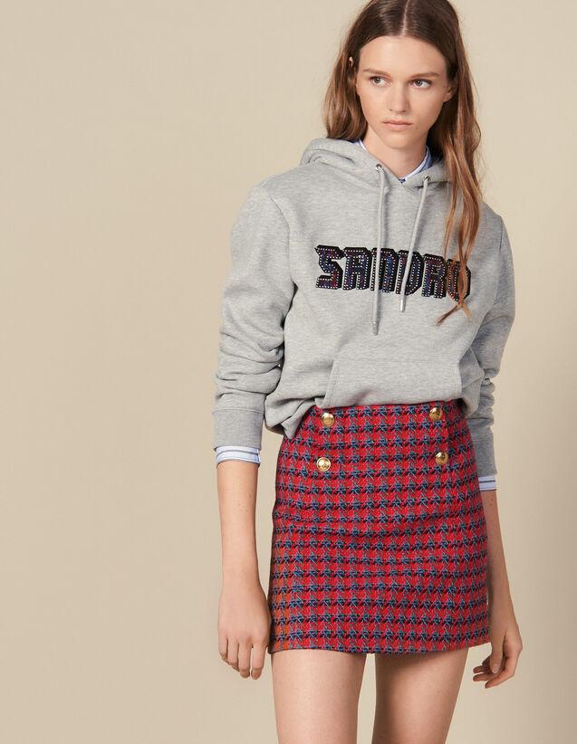 Jupe Courte En Tweed : Jupes & Shorts couleur Rouge
