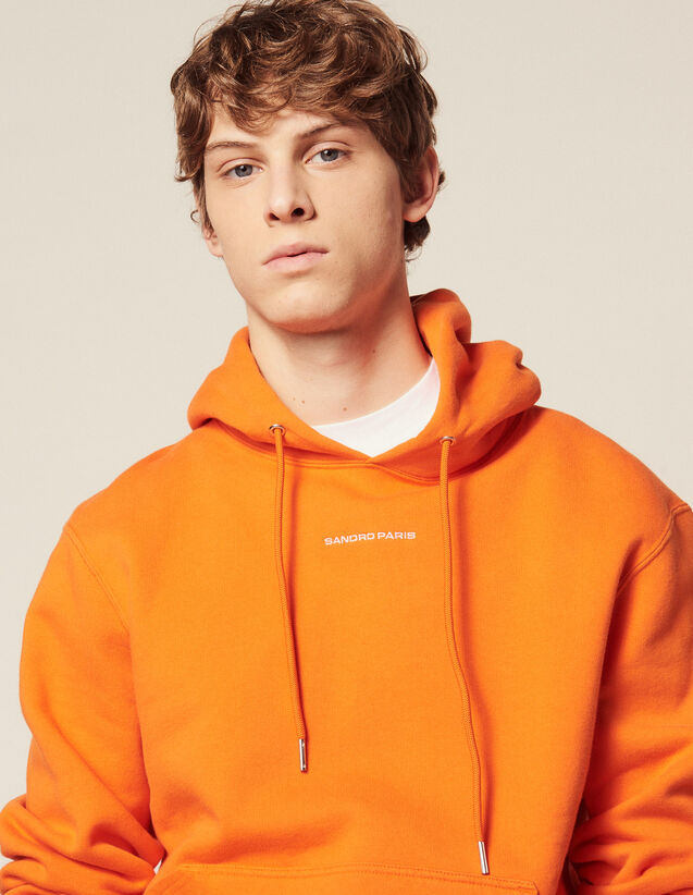 Sweat Hoodie Avec Broderie Logo : HAnciennesCollections couleur Orange