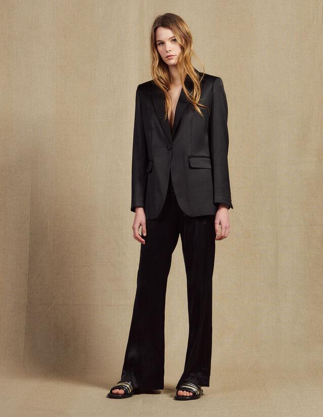 Pantalon En Tissu Satiné : Pantalons couleur Noir