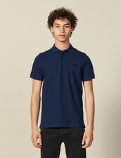 Polo En Coton À Message : Toute la collection Hiver couleur Bleu