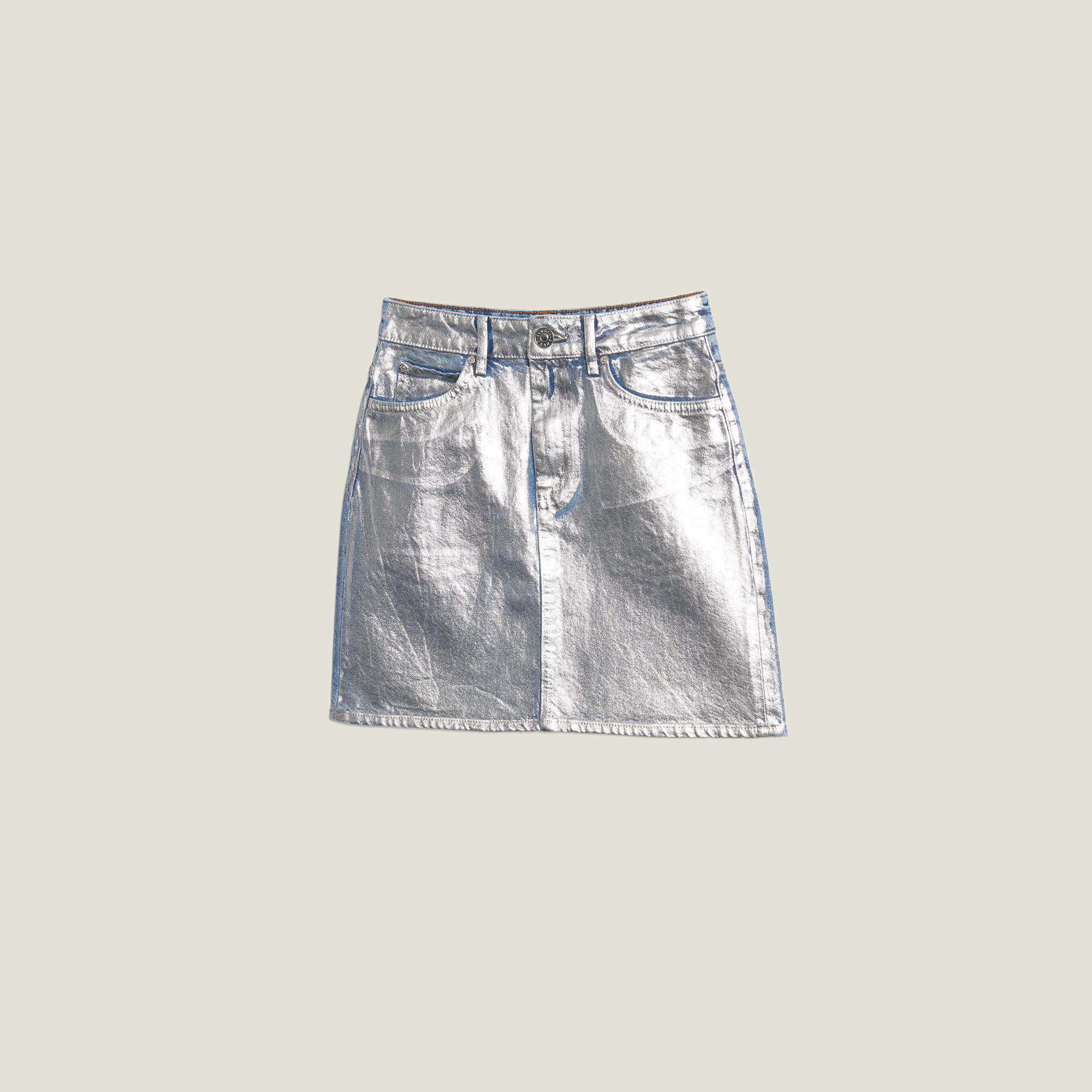 4834172d051b85 Jupe en jean enduite argentée