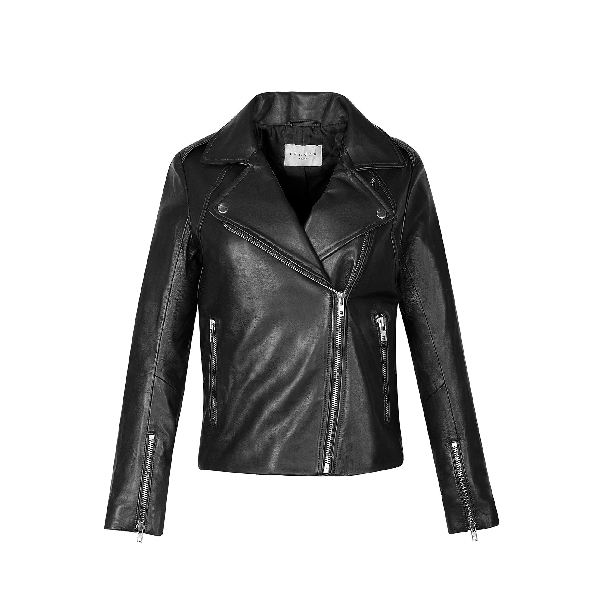 ... Blouson biker en cuir   Blousons   Vestes couleur Noir 8aa4c02a4a4f