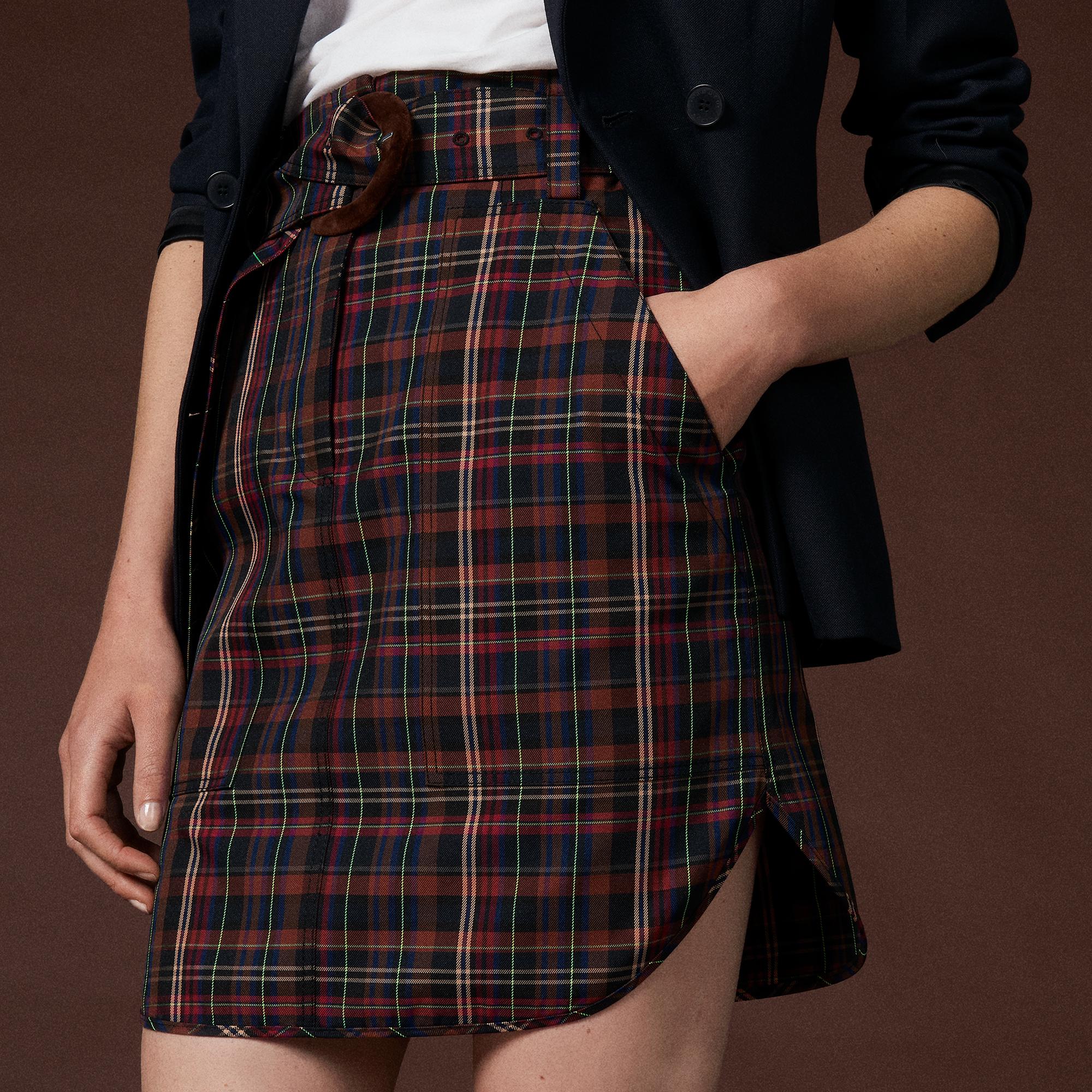 Jupe courte à carreaux et ceinture   Jupes   Shorts couleur Marron ... c8436ae89cb