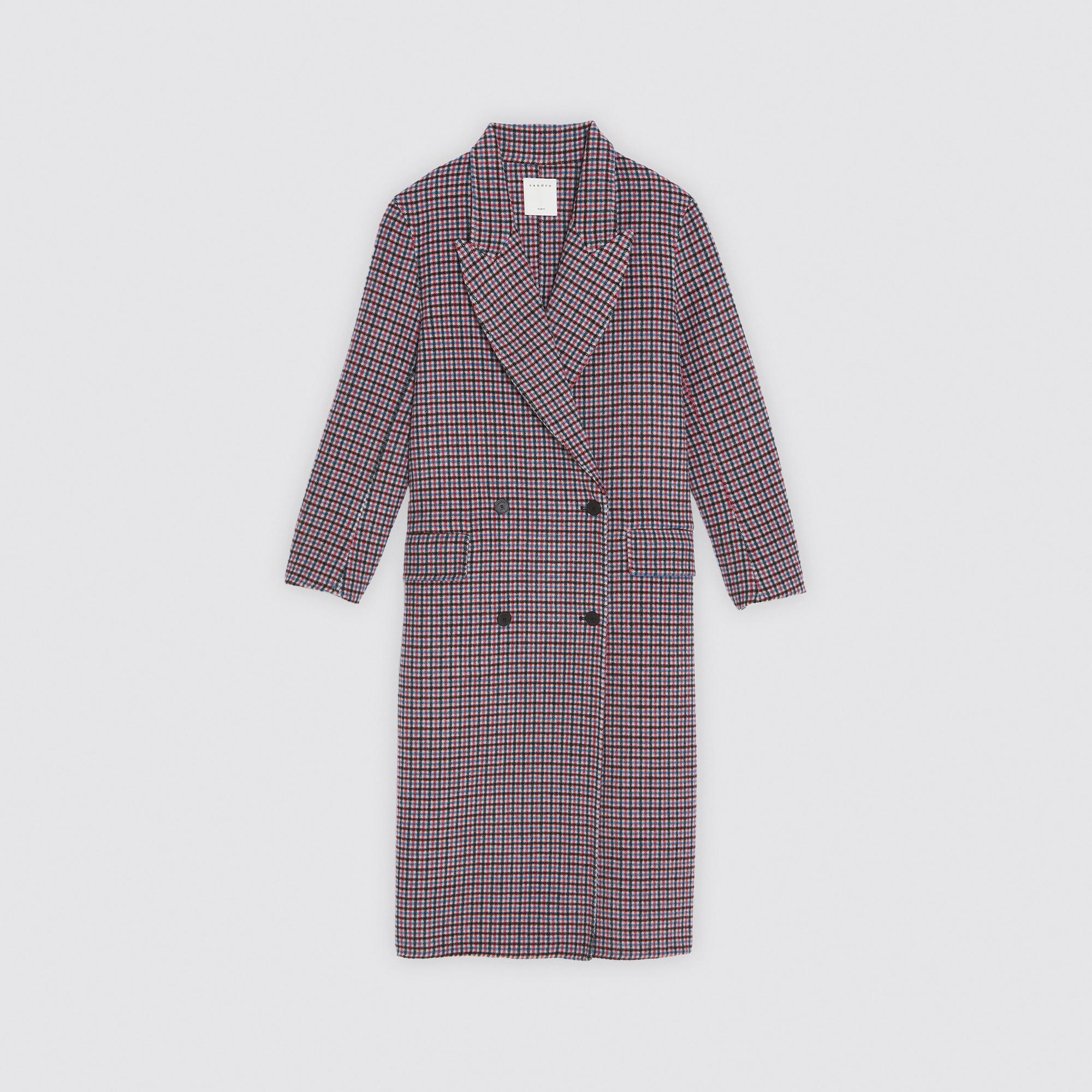 bon service volume grand boutique officielle Manteau à carreaux en drap de laine