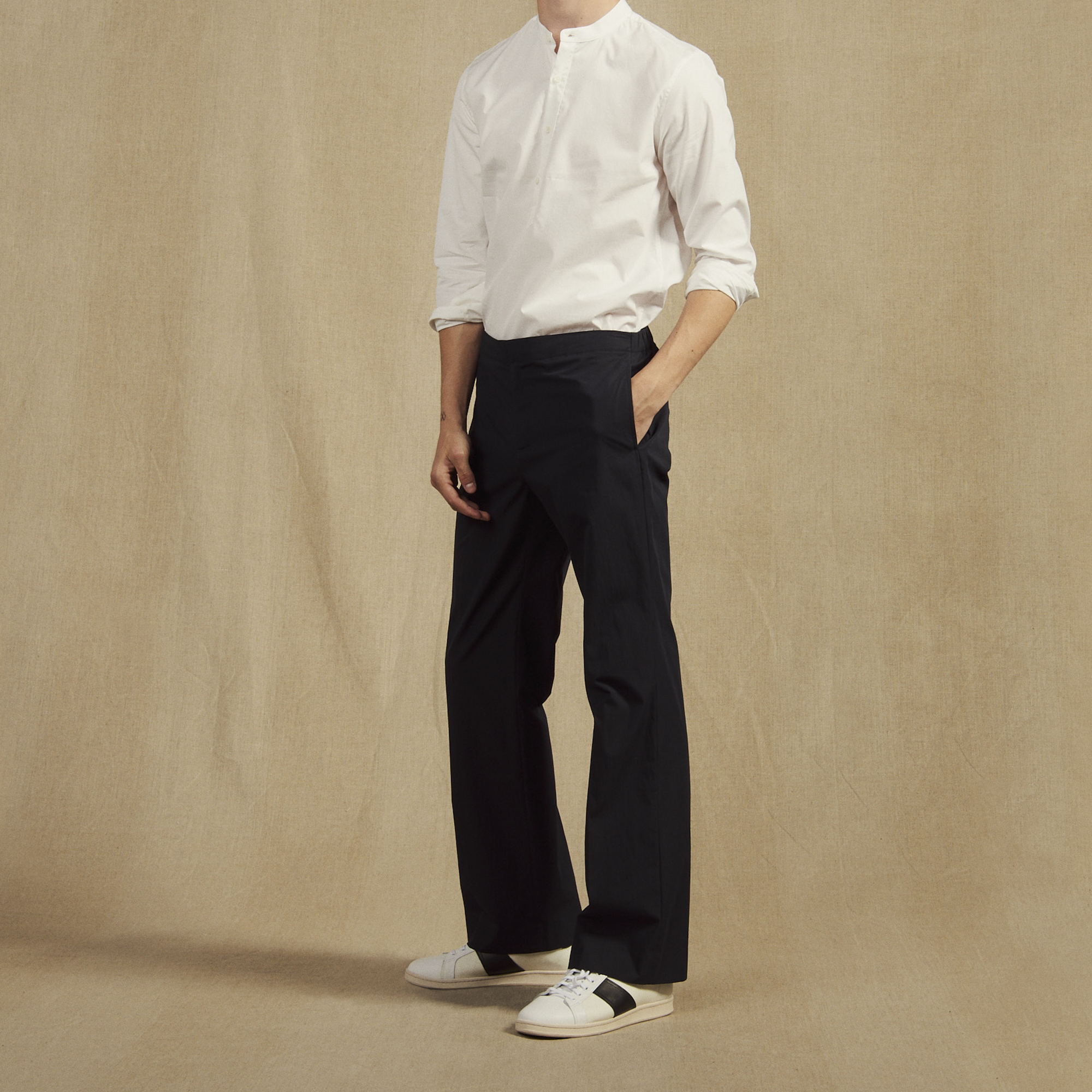 pantalon taille lastique en coton p6622s marine. Black Bedroom Furniture Sets. Home Design Ideas