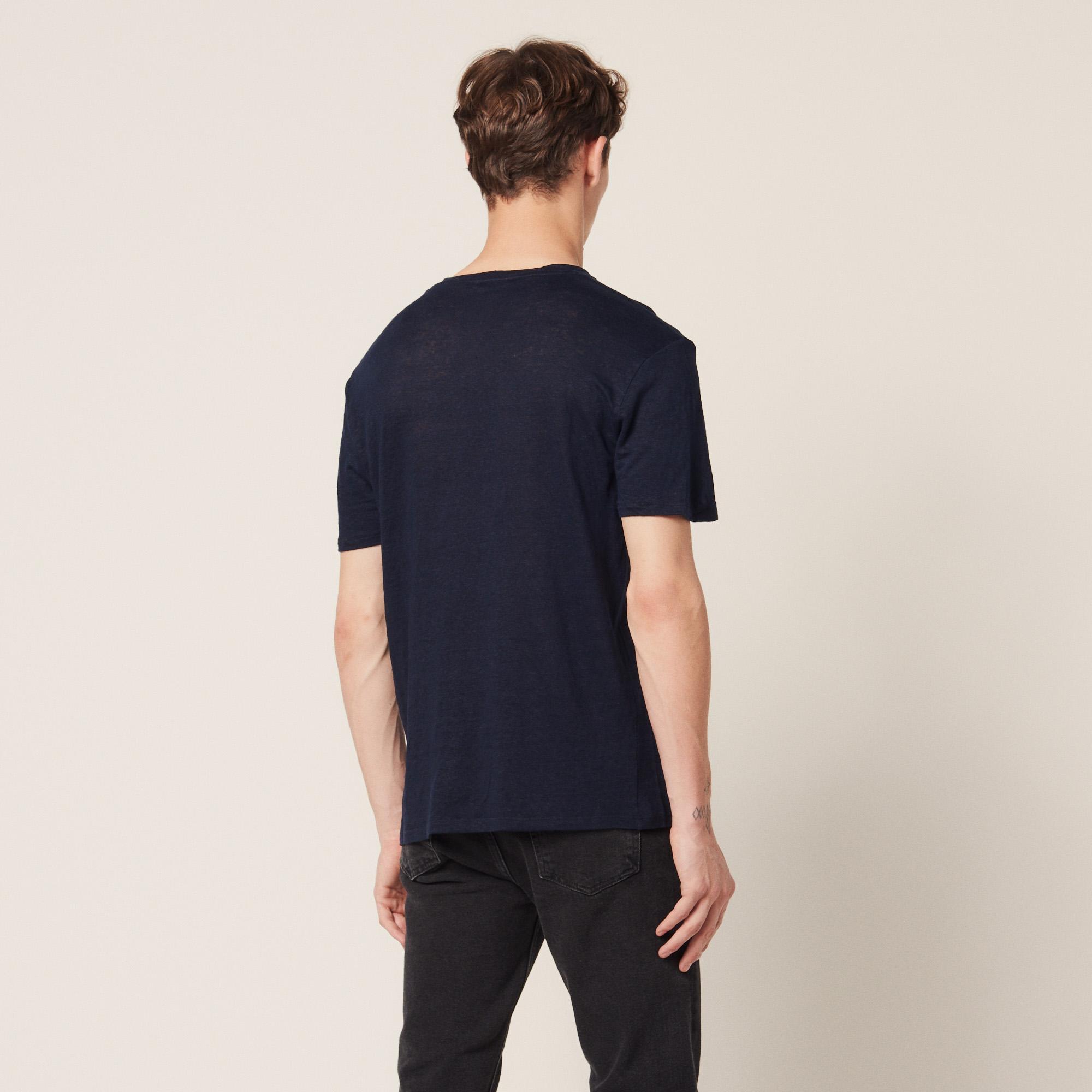 t shirt en lin t8641w marine t shirts polos sandro paris. Black Bedroom Furniture Sets. Home Design Ideas