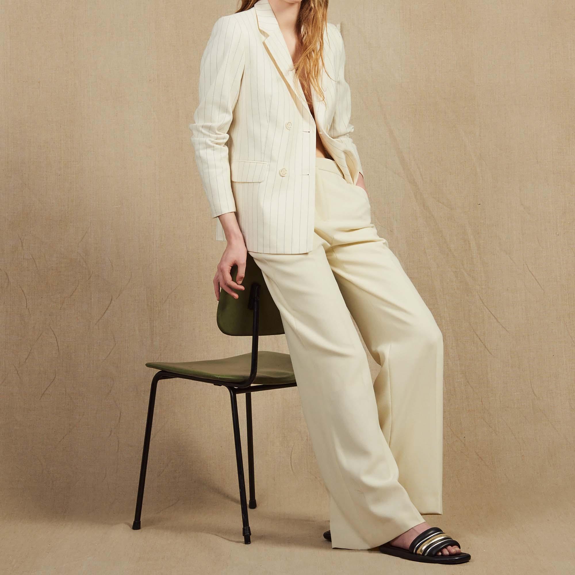 tailleur pantalon beige femme
