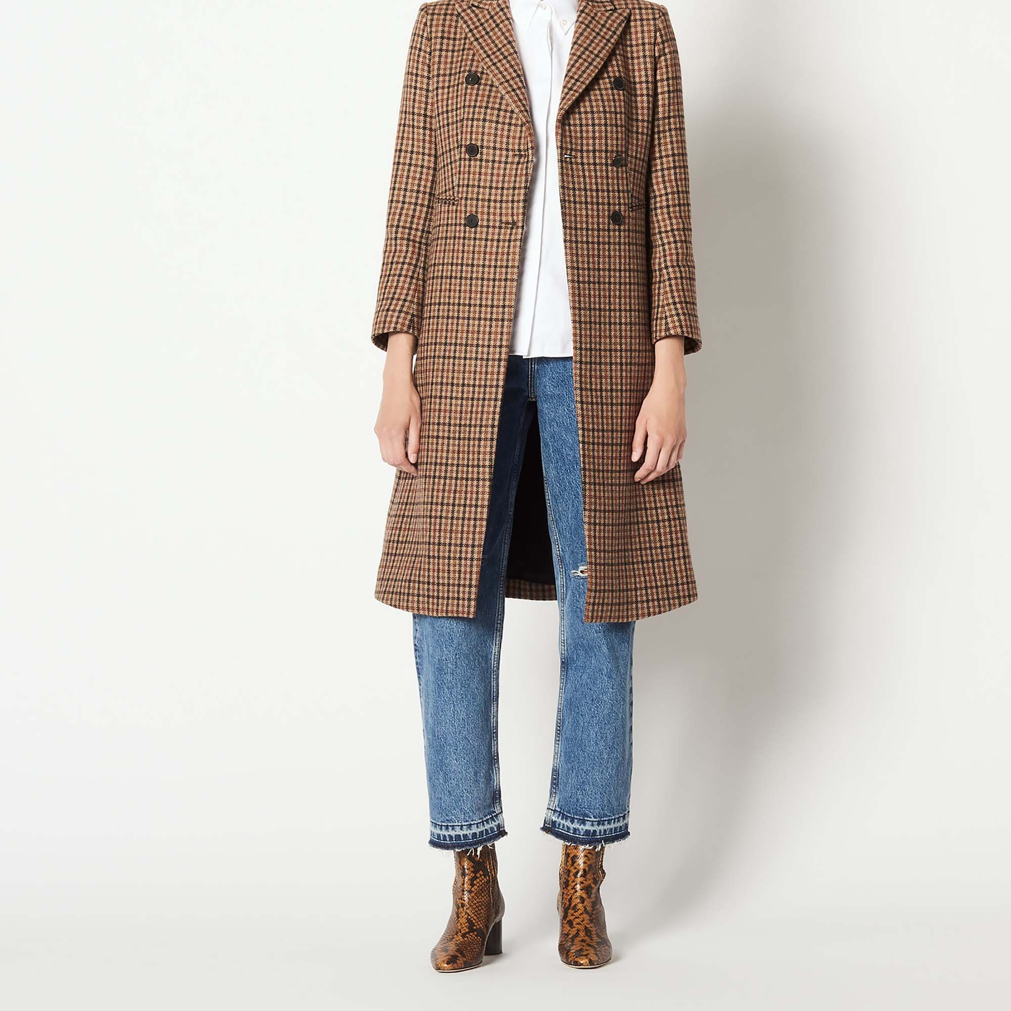 Manteau long en laine à carreaux