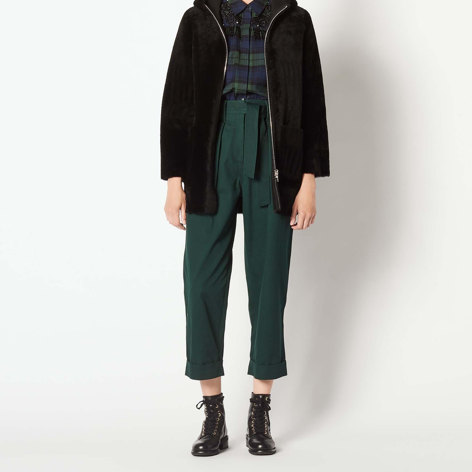 manteau en peau lain e zipp capuche m9715h manteaux. Black Bedroom Furniture Sets. Home Design Ideas
