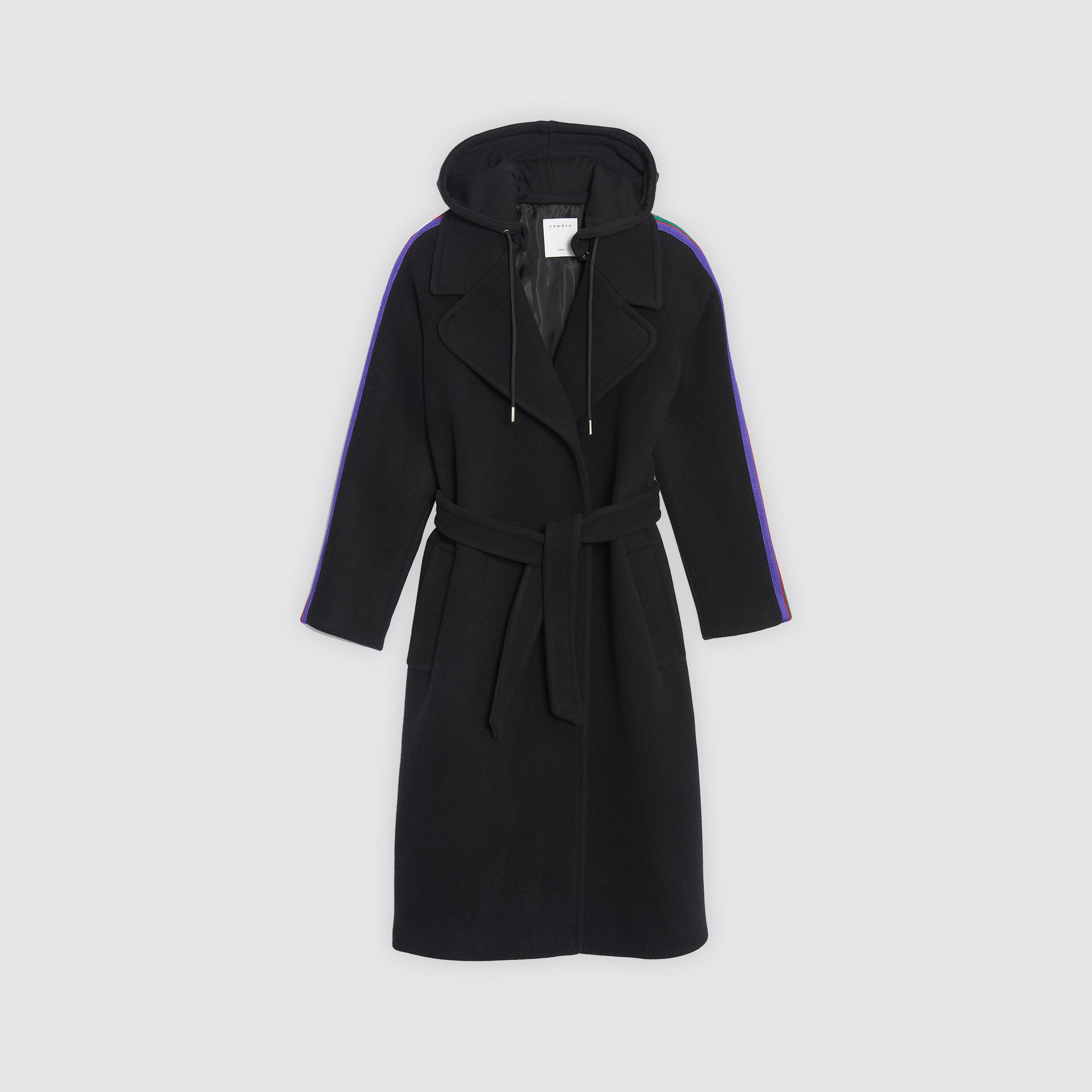 Manteau a capuche femme noir
